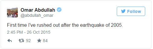 Omar Abdullah about Earthquake